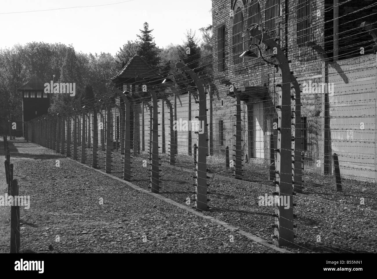 Barbed Wire Fence Guard Tower Stock Photos & Barbed Wire Fence Guard ...