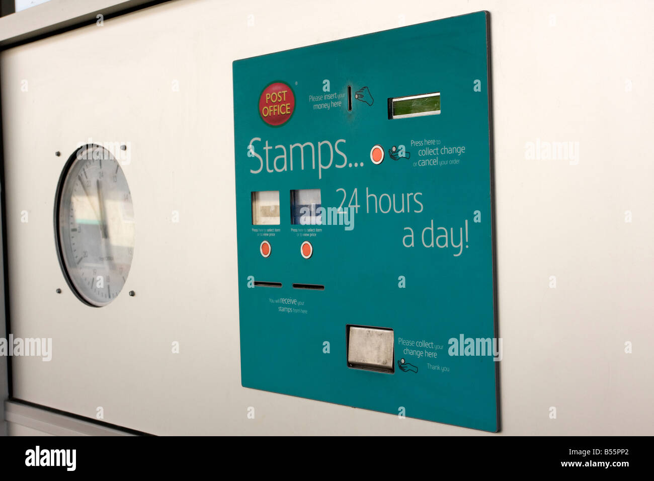 Postage Stamp Vending Machine Outside A British Post Office