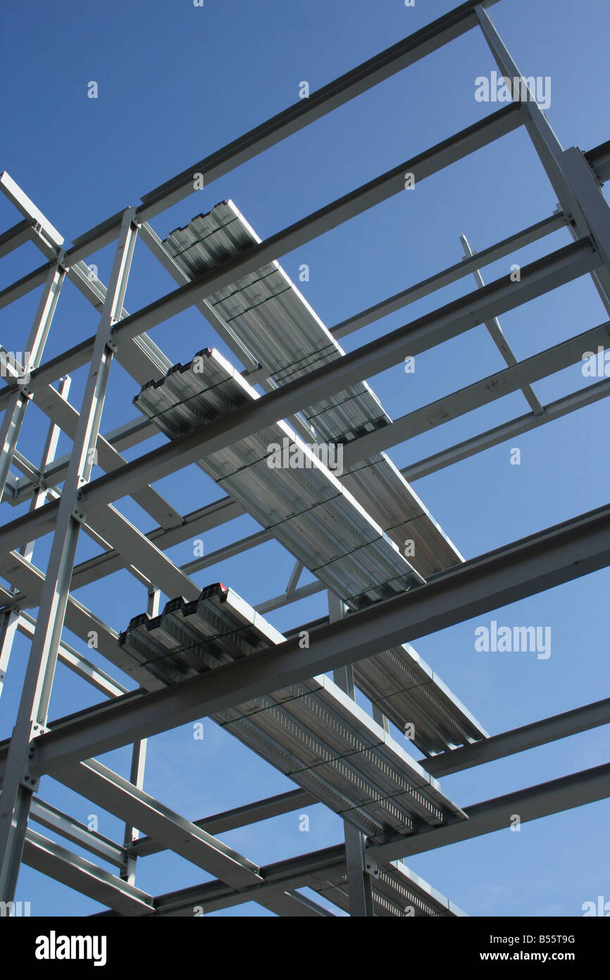 metal frame of new building with flooring panels Stock Photo