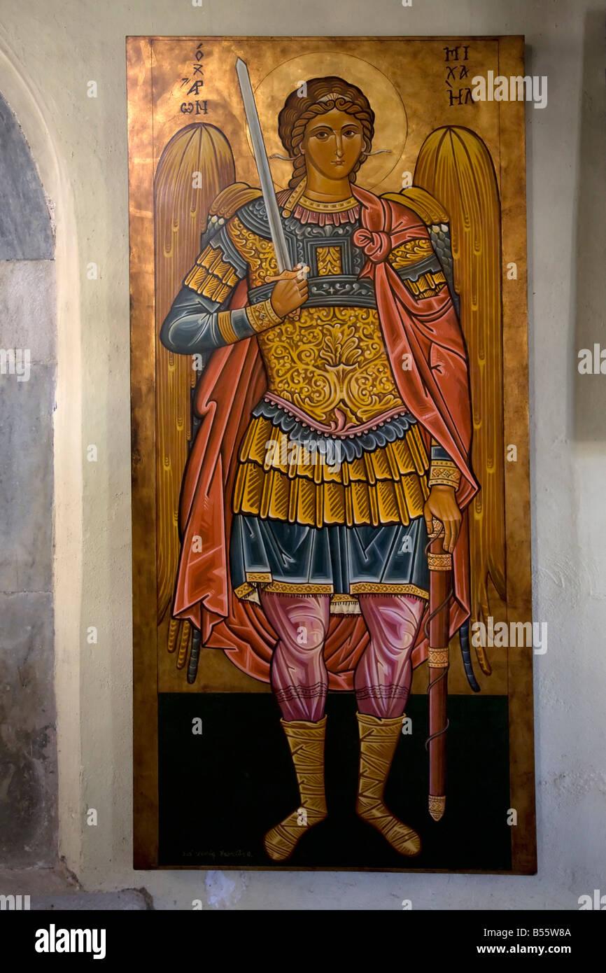 Icon of the Archangel Michael Timiou Stavrou Monastery Samos Greece - Stock Image