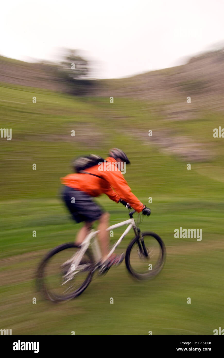 mountain biking Cavedale Castleton in the Peak District National Park Derbyshire UK England GB Great Britain Stock Photo