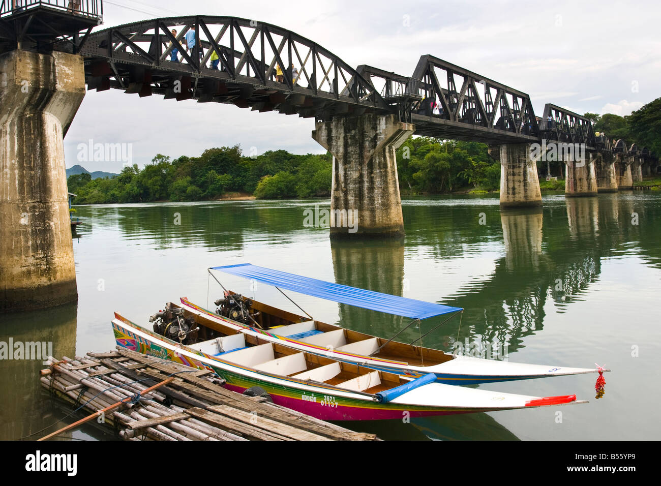 Bridge over the River Kwai, Pakkred Nonthaburi, Kanchanburi, Thailand, - Stock Image