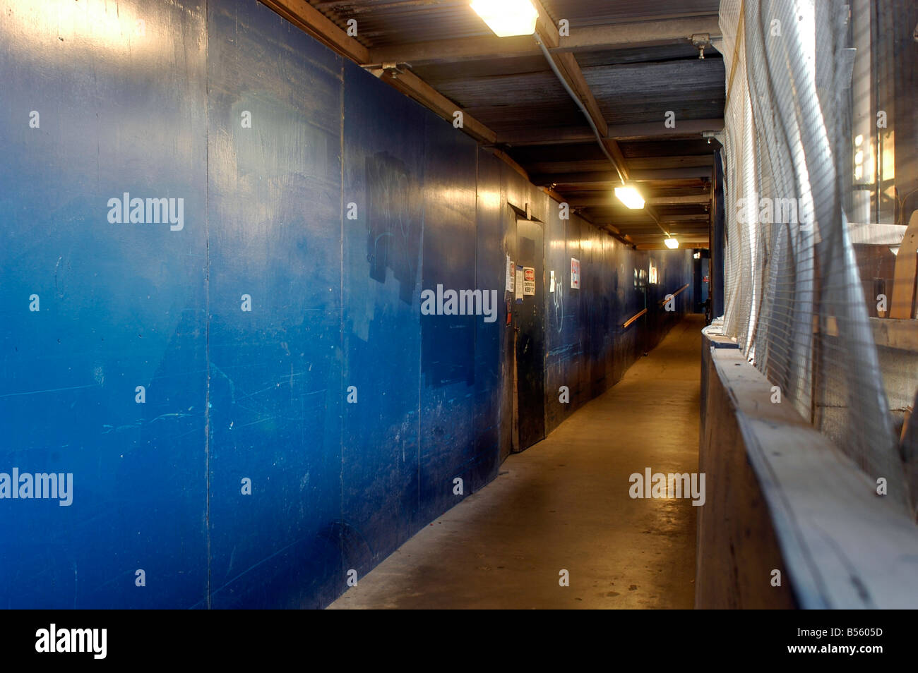 Pedestrian corridor in a construction site in New York Richard B Levine - Stock Image