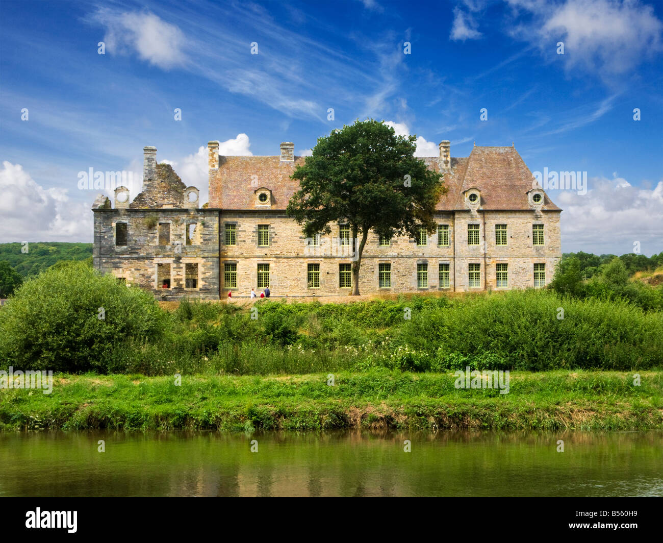 The Cistercian Abbey de Bon Repos on the Nantes Brest Canal, Cotes d'Armor, Brittany, France, Europe - Stock Image