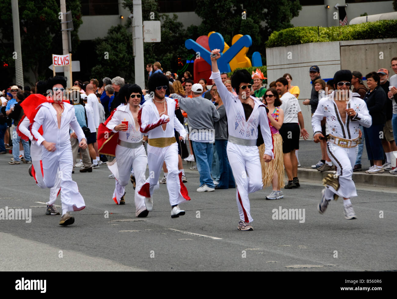 California San Francisco The Running Elvises in the annual Bay to Breakers run. - Stock Image