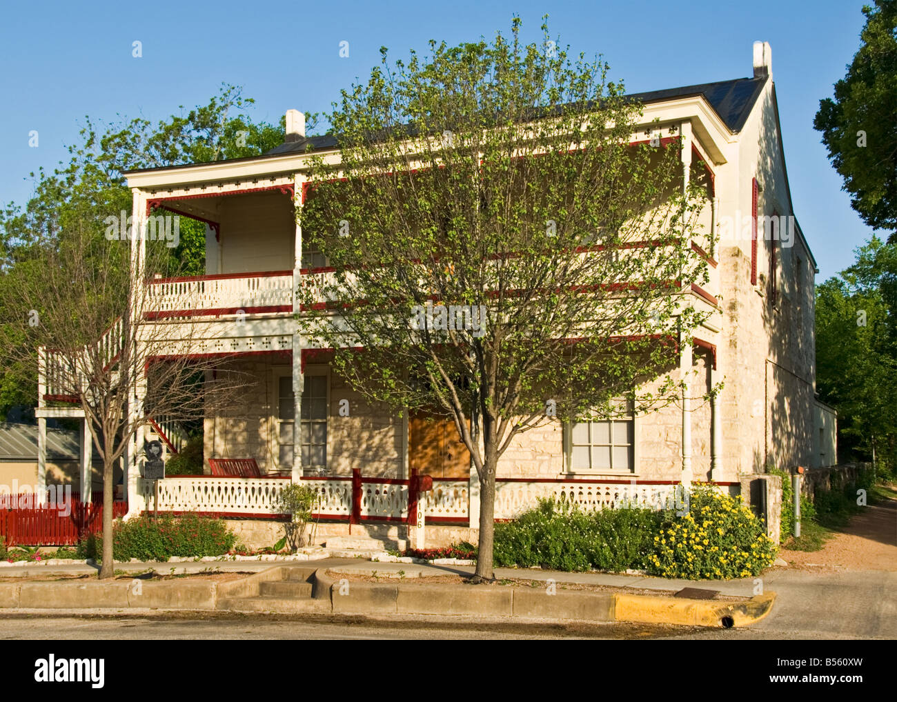 Texas Hill Country Fredericksburg historic Schmidt Gold House built 1860 s - Stock Image