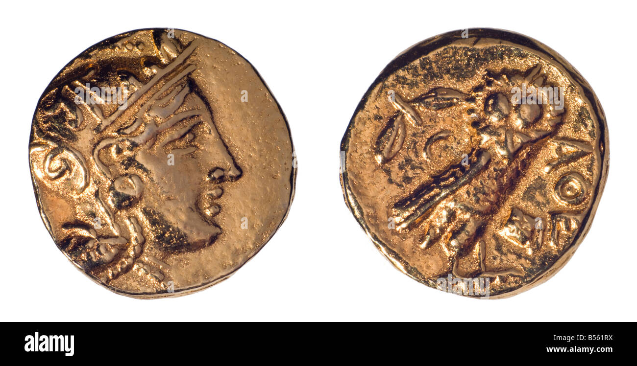 Ancient Greek Coin (reproduction) Gold Stater of Athens from c296 BC. Reverse: Owl. Obverse: Head of Athena - Stock Image