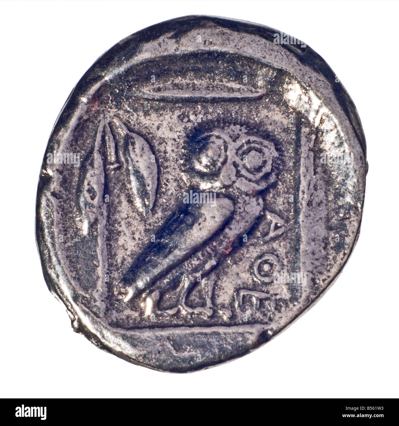 Ancient Greek Coin (reproduction) Silver Didrachm of Athens from c460 BC. (Obverse; Head of Athena). Reverse; Owl - Stock Image