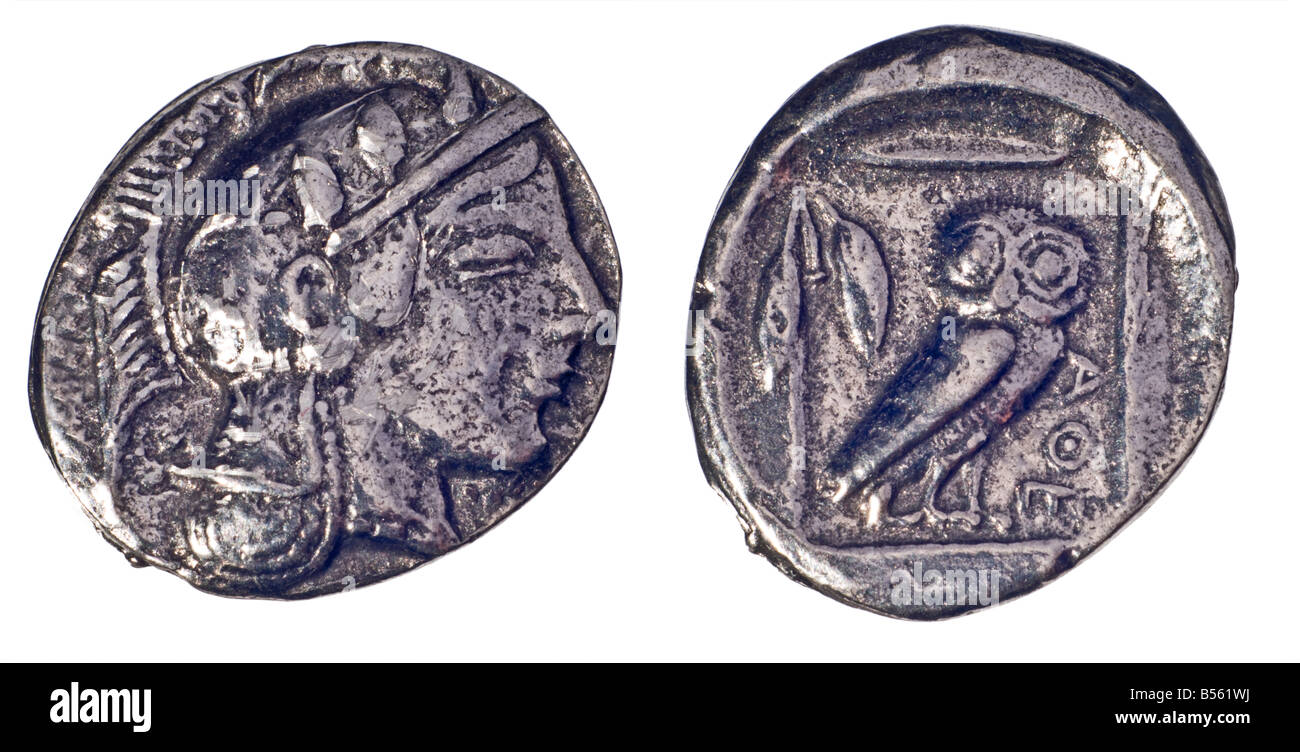Ancient Greek Coin (reproduction) Silver Didrachm of Athens from c460 BC. Obverse; Head of Athena. Reverse; Owl - Stock Image