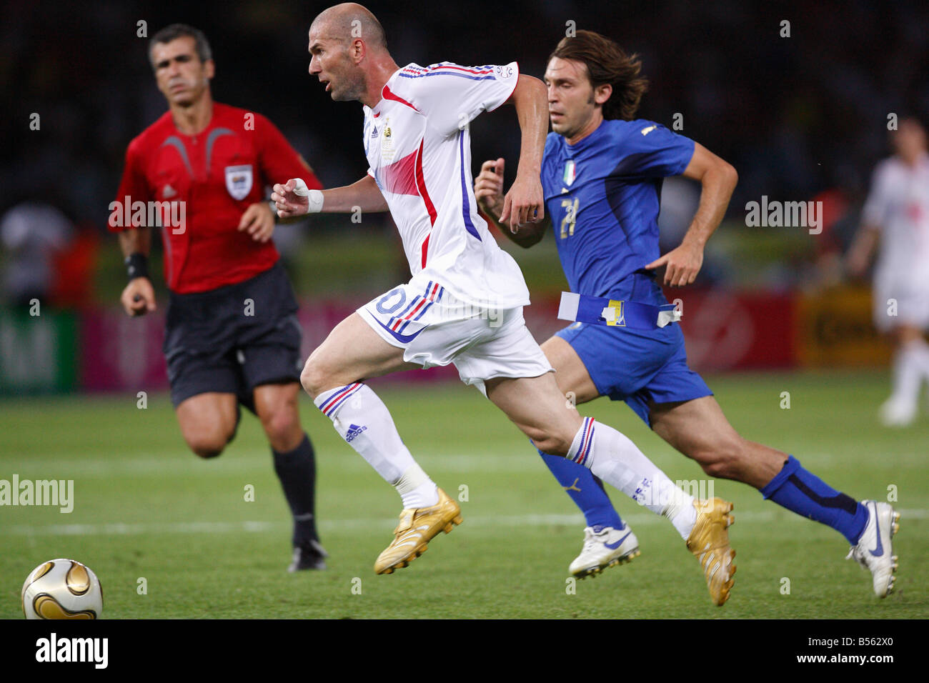 French Midfielder And Captain Zinedine Zidane In Action During The  Fifa World Cup Final Against Italy July