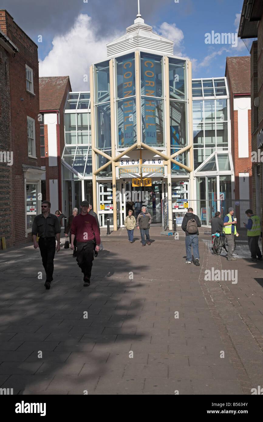 Cornhill shopping centre Bury St Edmunds Suffolk England - Stock Image