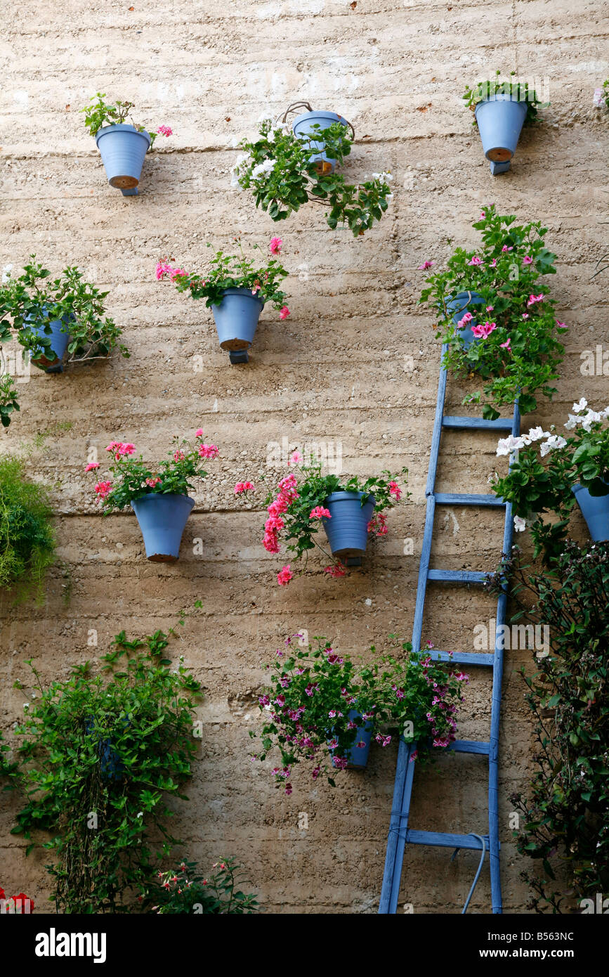 Alamy & Wall of bright blue pots in a Spanish garden Stock Photo ...