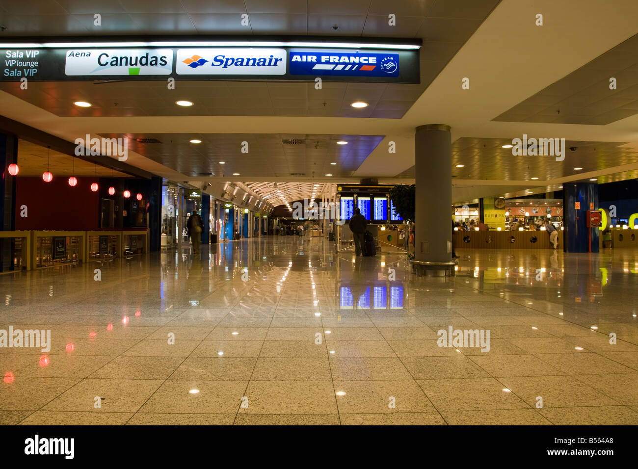 Inside Barcelona airport in the departures lounge El Prat, Barcelona, Spain Stock Photo