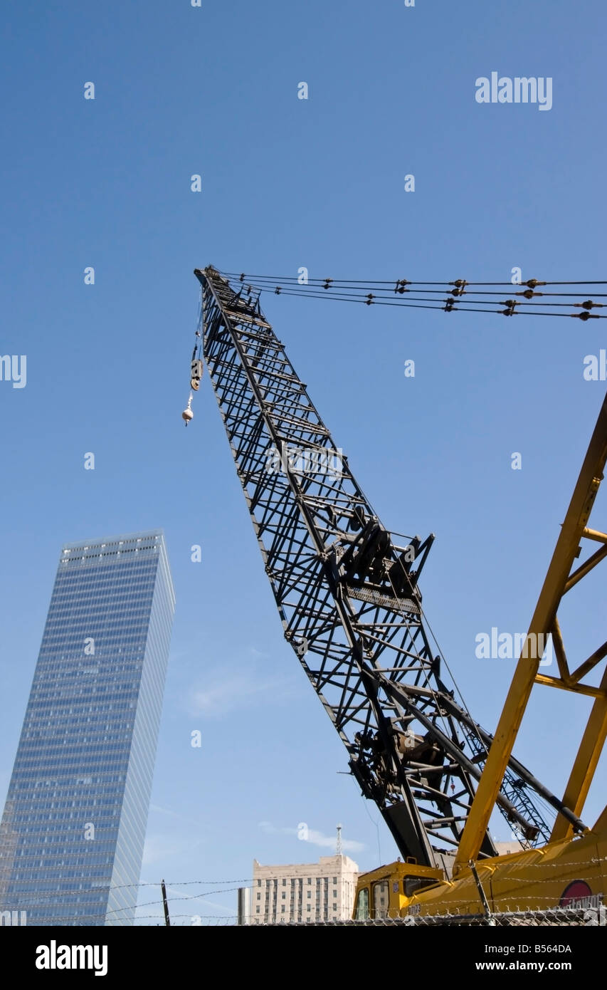 A crane is seen at the site of the World Trade Center in New York. - Stock Image