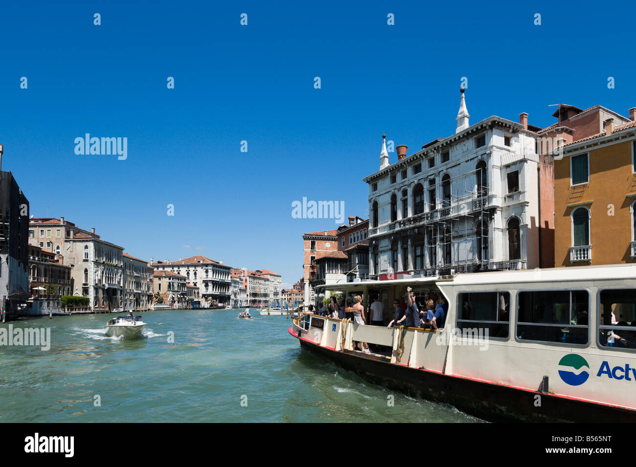 A vaporetto or water bus on the Grand Canal, Venice, Veneto, Italy - Stock Image