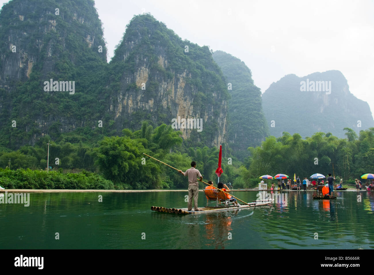 Bamboo boats on the Yu Long or Dragon River, Yangshuo, China - Stock Image