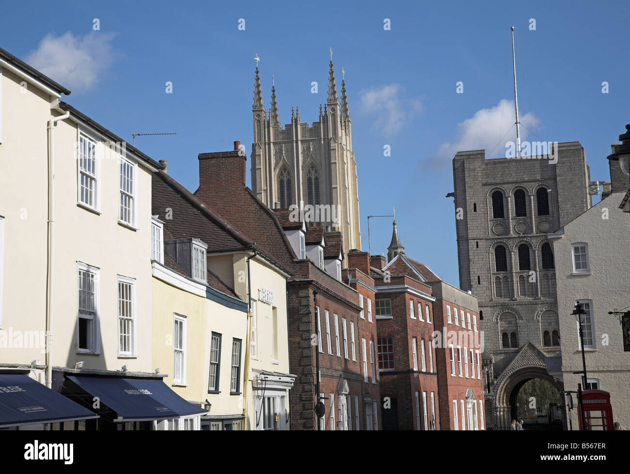 Cathedral and nearby houses Bury St Edmunds Suffolk England - Stock Image