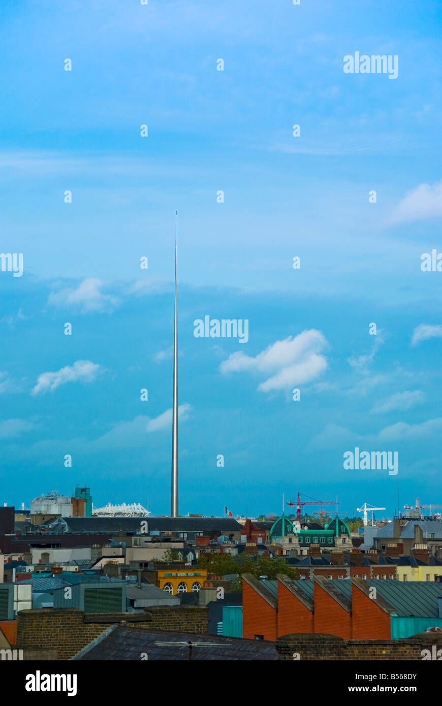 The Dublin Spire Ireland As seen from roof level on Dame Street - Stock Image