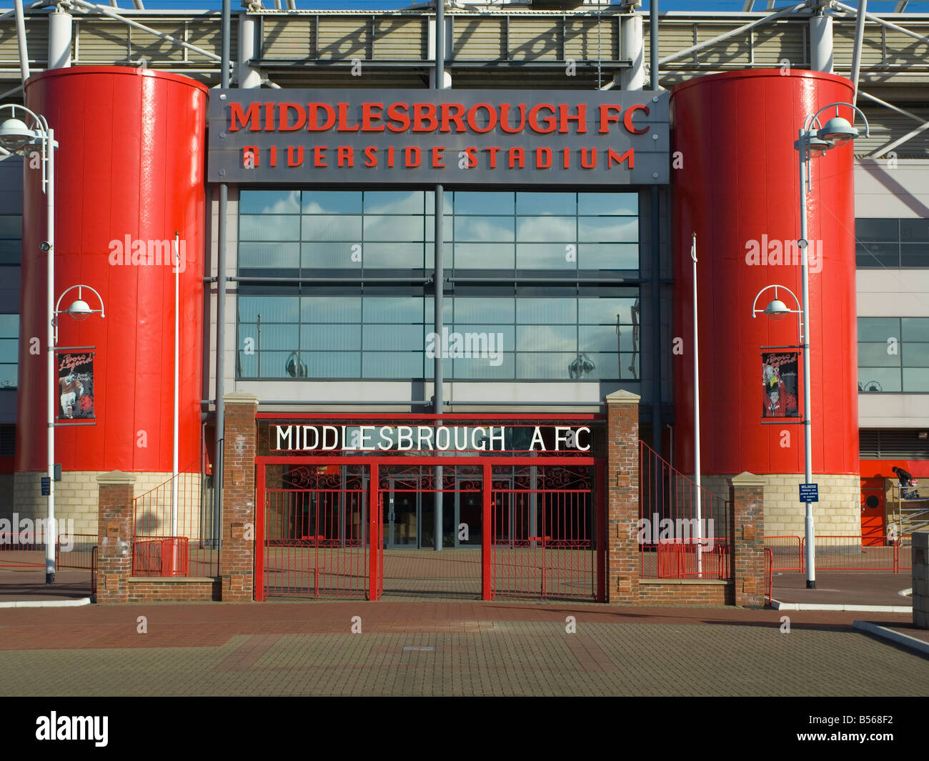 The main entrance to the stadium of Premier League Club Middlesbrough Football Club at Riverside Middlesbrough Cleveland - Stock Image