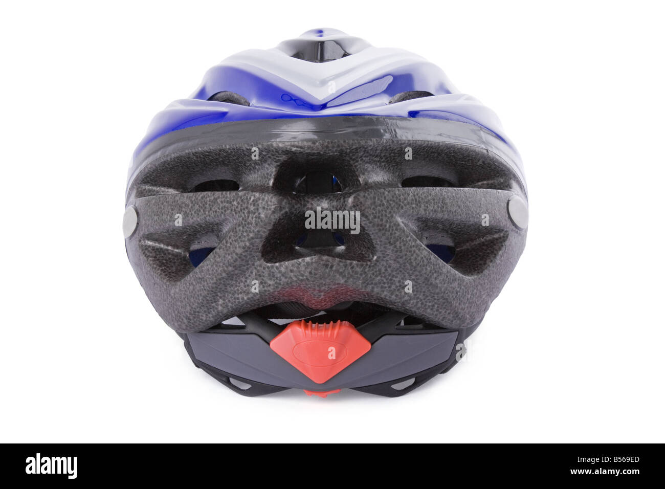 Cycling helmet isolated on white background /// bike bicycle cut out cutout back equipment mtb mountain biking head - Stock Image