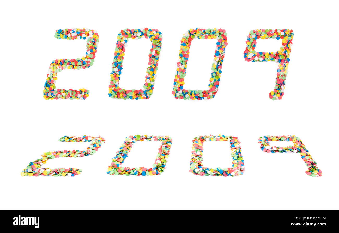 Concept for New Year with 2009 written with confettis in a modern font - Stock Image