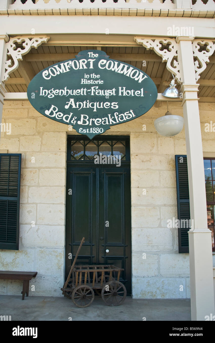 Texas Hill Country Comfort National Historic District Ingenhuett Faust Hotel B B antique shop - Stock Image