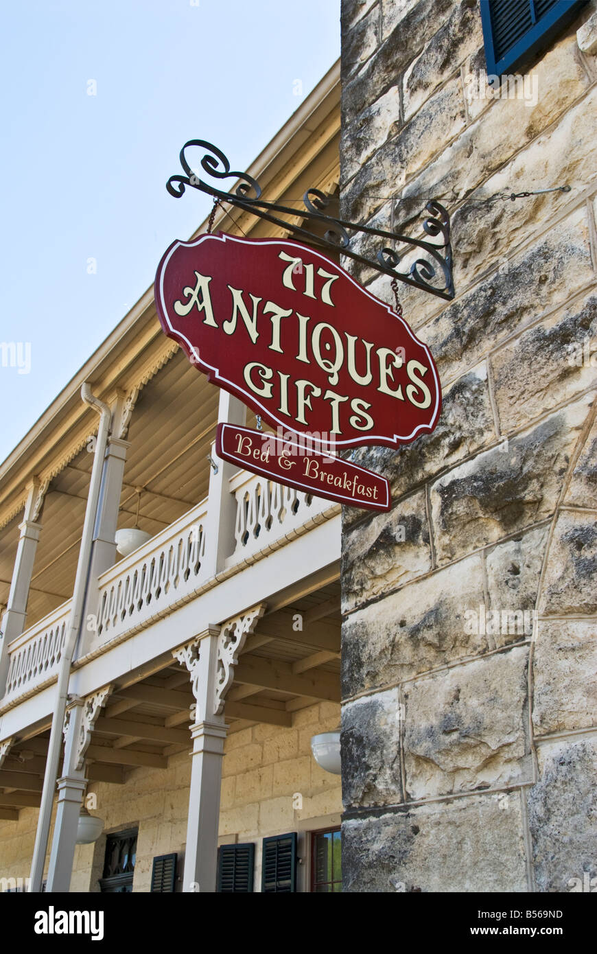 Texas Hill Country Comfort National Historic District Ingenhuett Faust Hotel B and B antique shop - Stock Image
