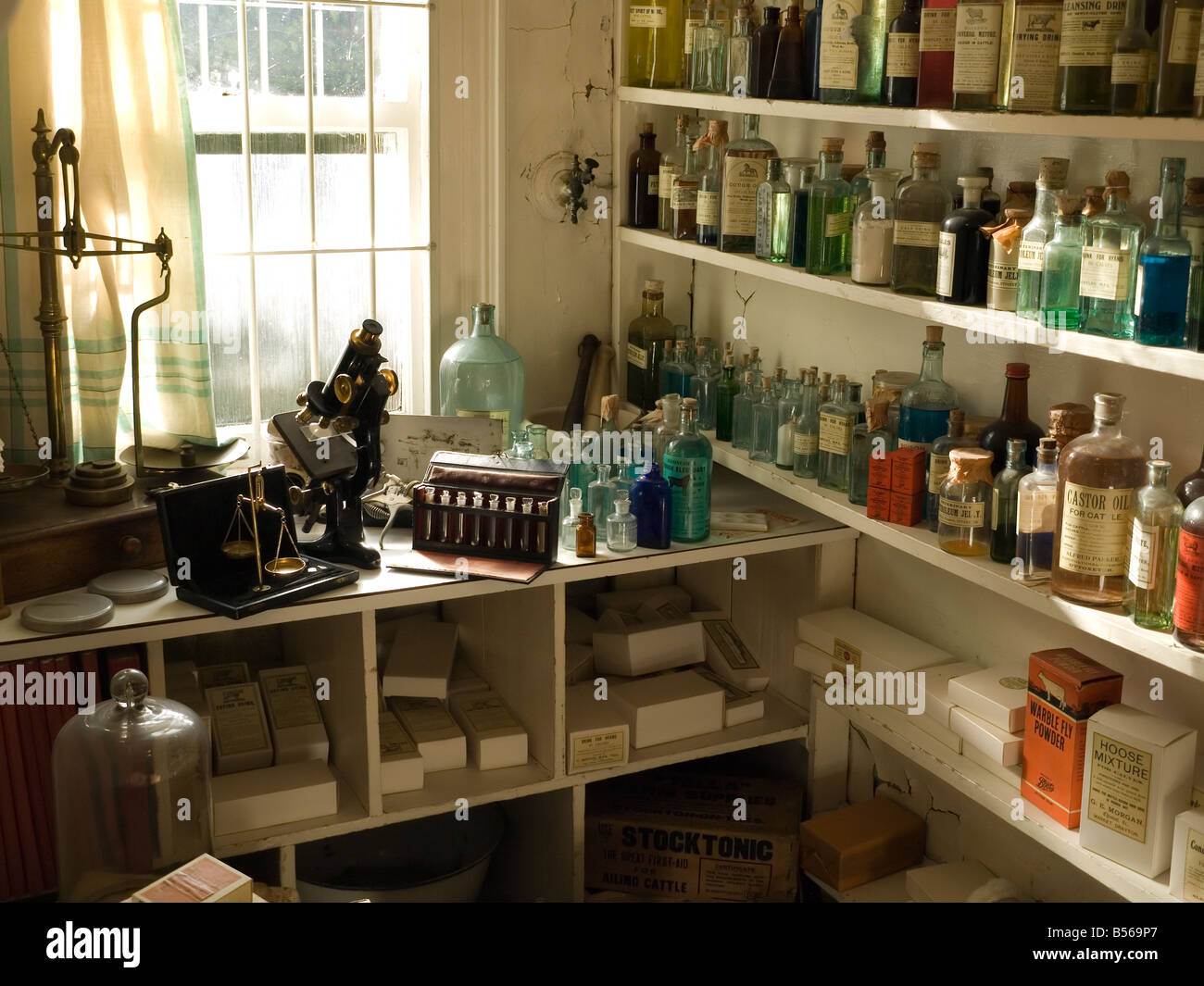 Display in the James Herriot museum showing the dispensary of the fictional veterinary practice in the early 1950s - Stock Image