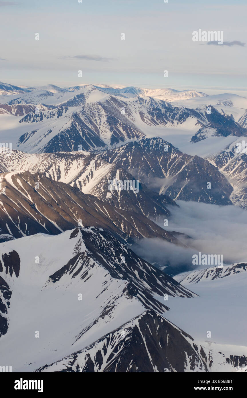 Aerial views of the mountains and glaciers of Sirmilik National Parkon Bylot Island Nunavut Canada - Stock Image