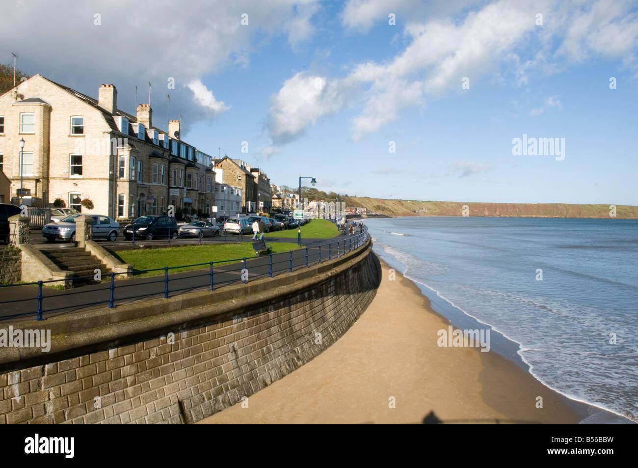 filey east yorkshire coast coastline beach resort small northern uk england british sea seaside - Stock Image