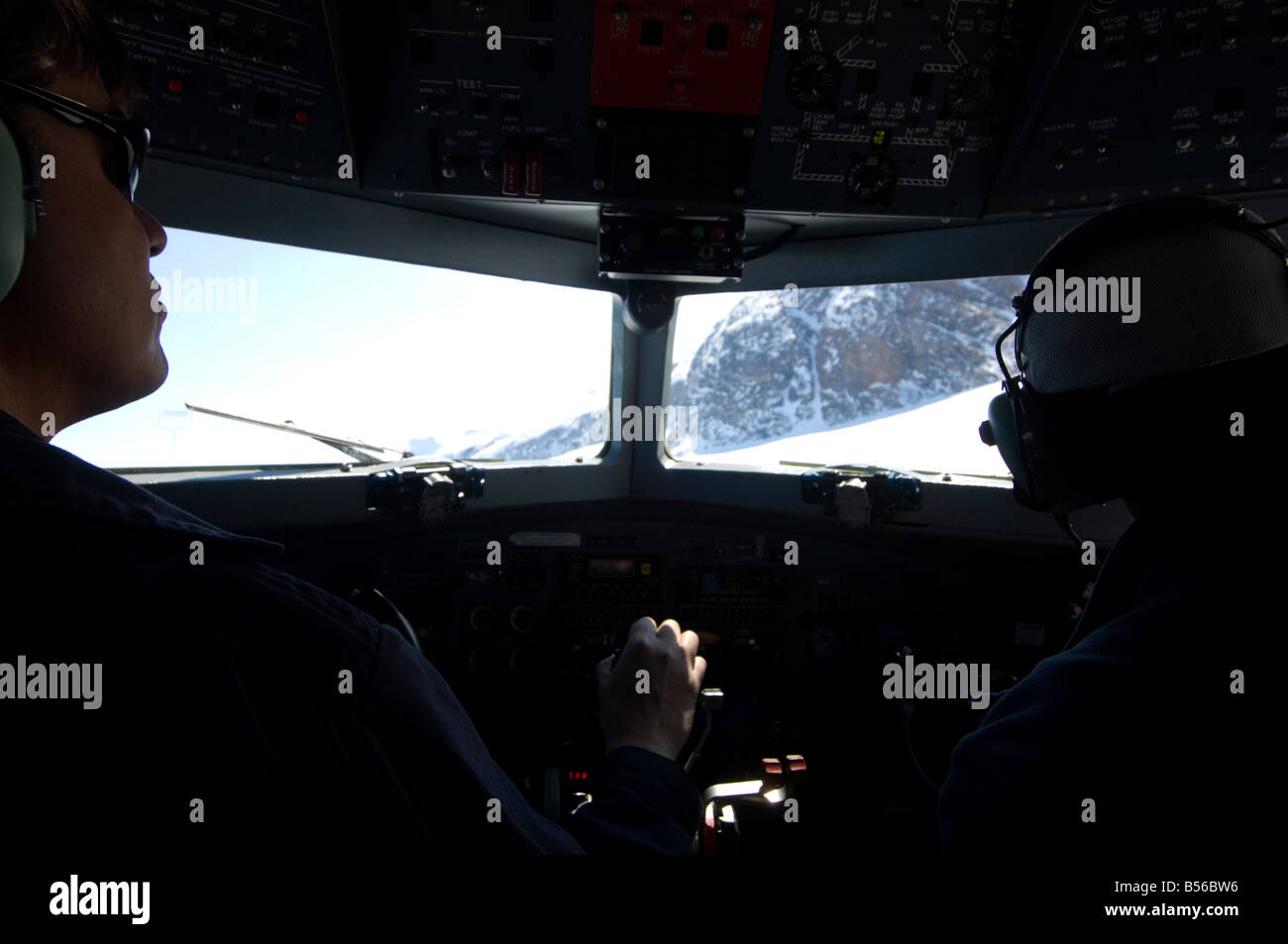 pilot at controls of DC3 ellesmere island - Stock Image