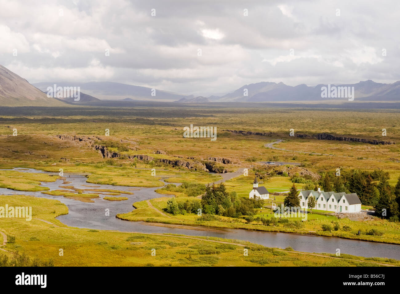 View of the plains of Þingvellir, the site of the first Icelandic parliament, called Althing, first established Stock Photo