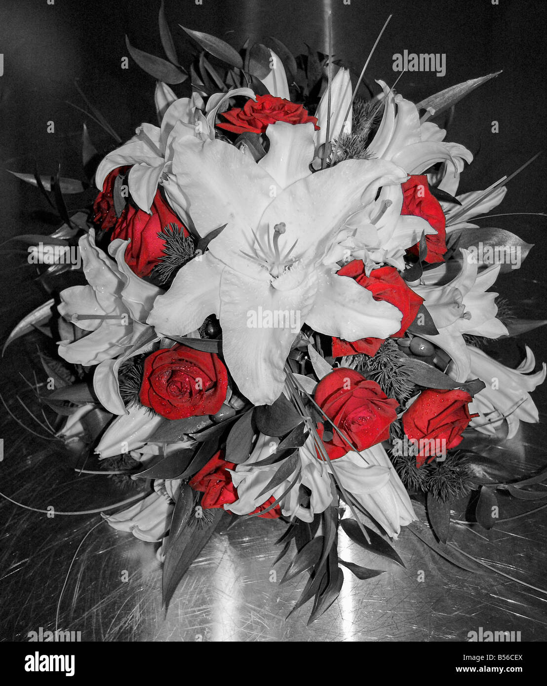 Lilly And Rose Wedding Bouquet Black And White With Red Colour Stock Photo Alamy