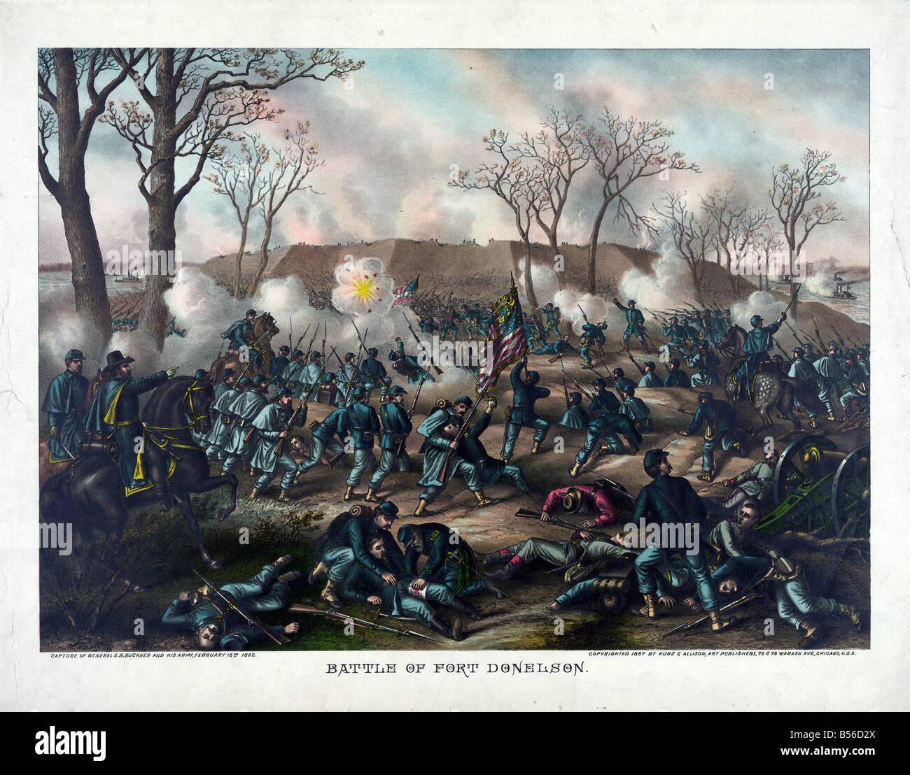 Battle of Fort Donelson - Civil War - Stock Image