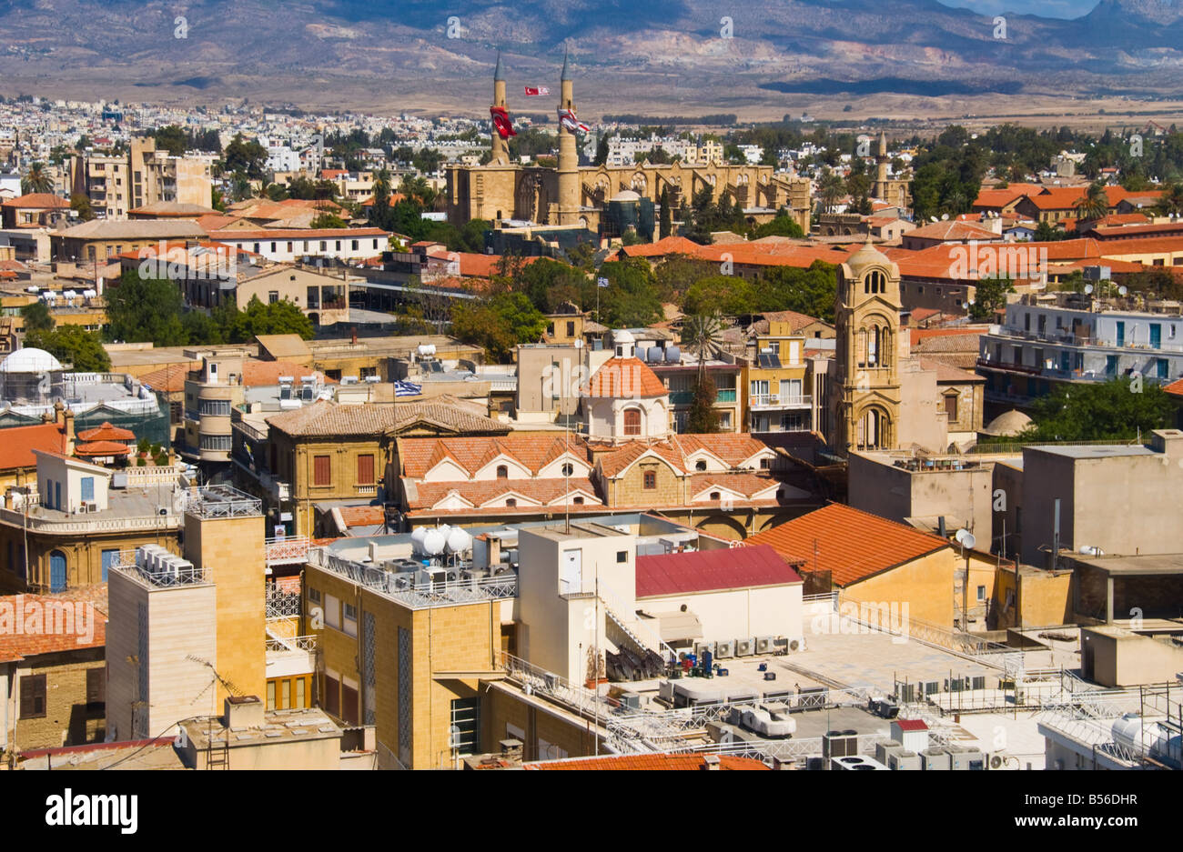 View over the city of Southern Nicosia Cyprus EU - Stock Image