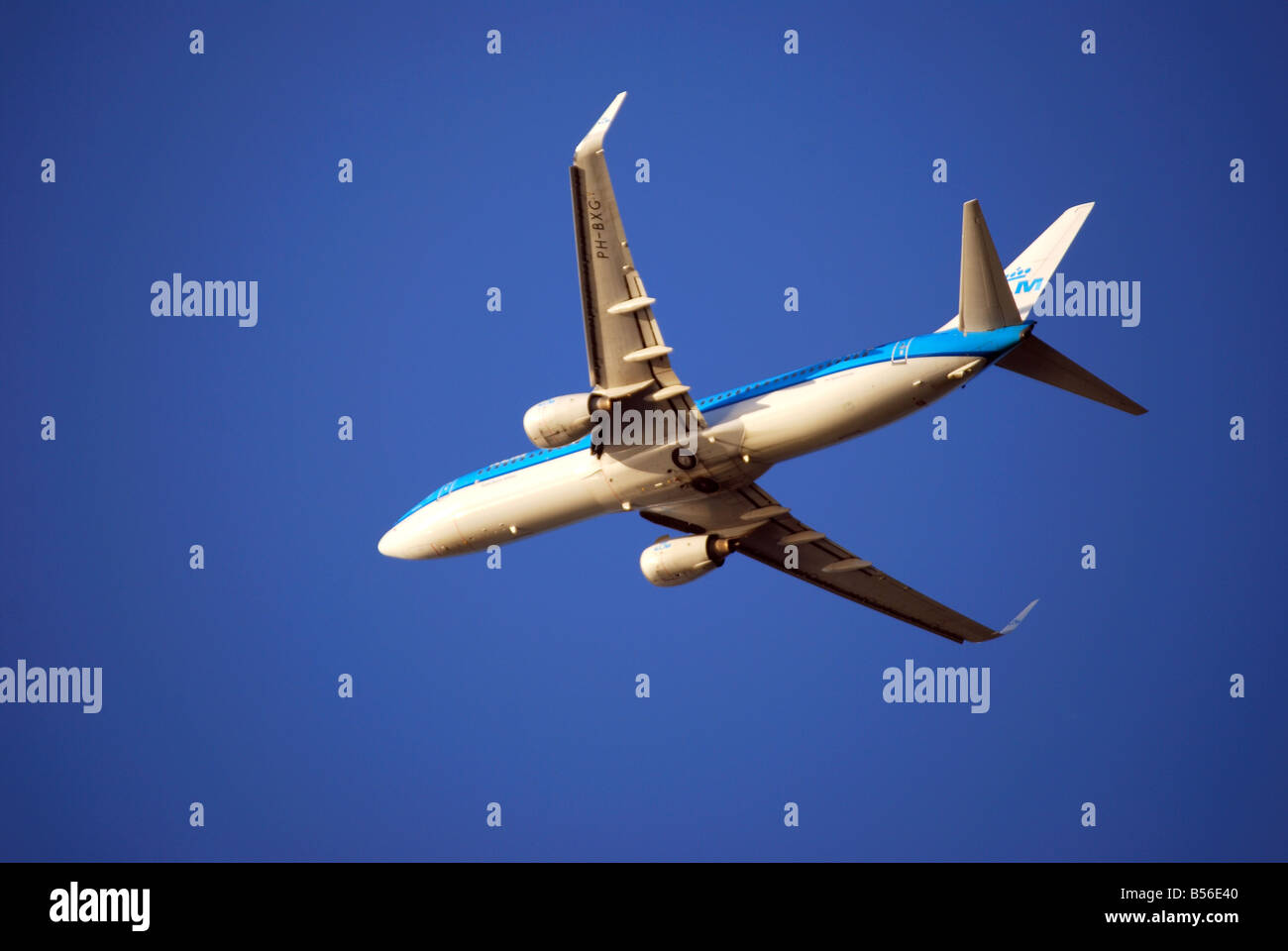 KLM Boeing 737-800 aircraft taking off, Heathrow Airport, Greater London, England, United Kingdom - Stock Image