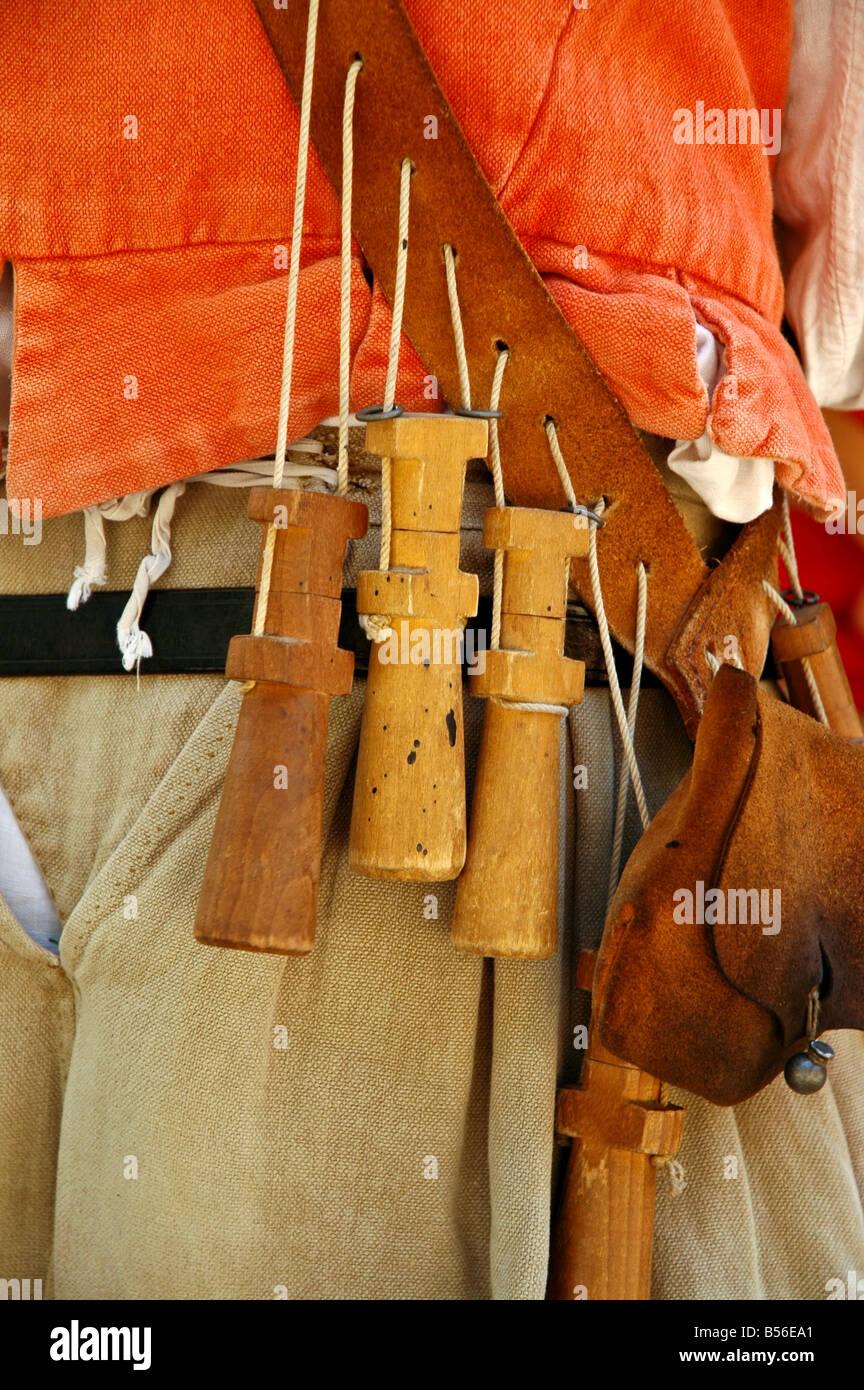 Matchlock musket apostles premeasured black powder charges bandolier shot pouch Jamestown Settlement virginia - Stock Image