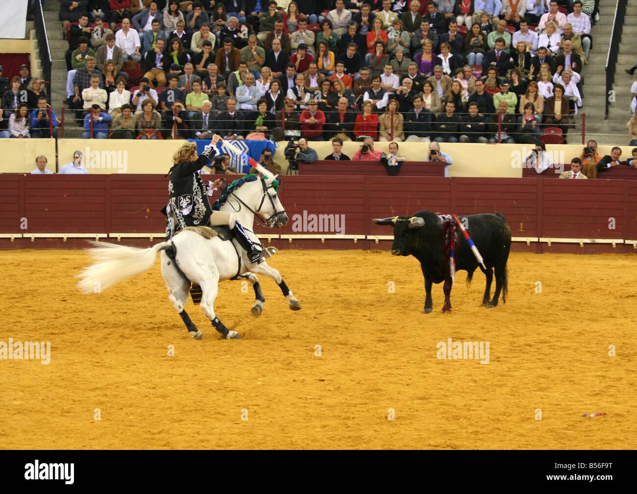 Bullfight at Praca de Touros de Campo Pequeno - Stock Image