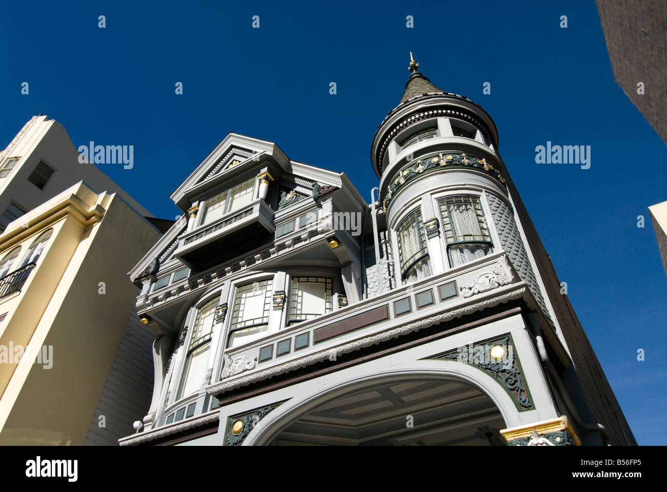 California San Francisco Example of a Victorian house being restored 1828 Pacific Street. - Stock Image