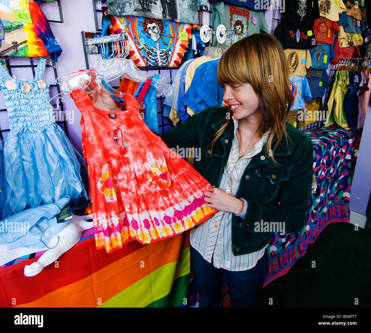California San Francisco Shop known as Positively Haight Street selling tie dyed clothing in the Haight Ashbury. - Stock Image