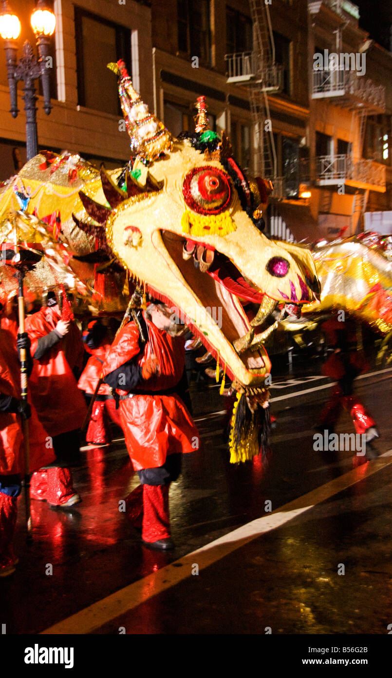 California San Francisco A dragon in the Chinese New Year Parade Photo 29 casanf77762 Photo Lee Foster 2008 - Stock Image