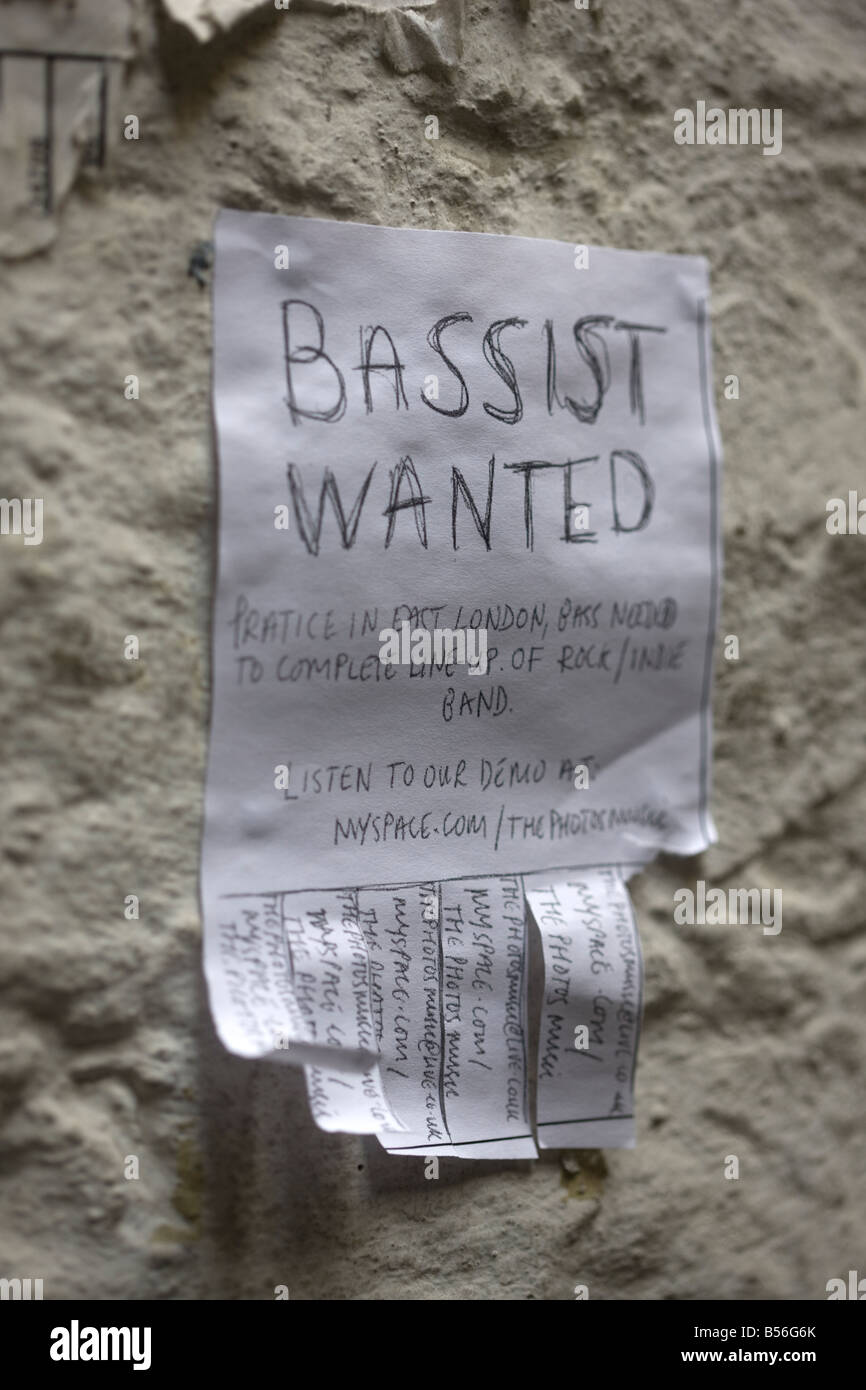 e43cd0dd6a bassist wanted band advert denmark street london Stock Photo ...
