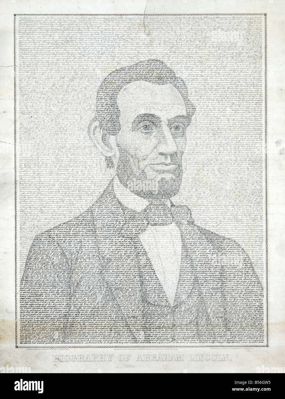 Hand written life story of President Lincoln - Stock Image