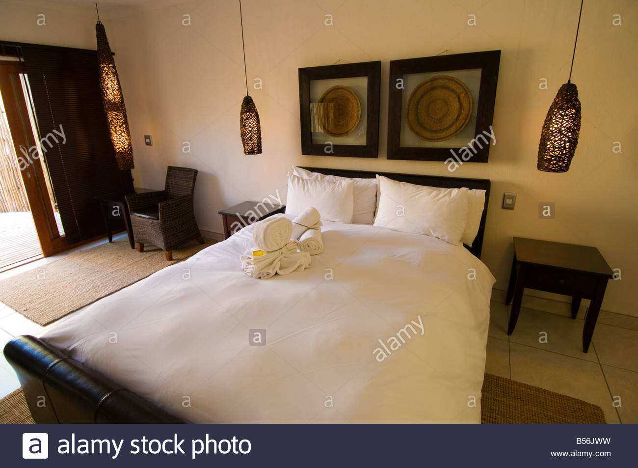 Interior view of a bedroom in the Namutoni Resort Etosha National Park Namibia - Stock Image