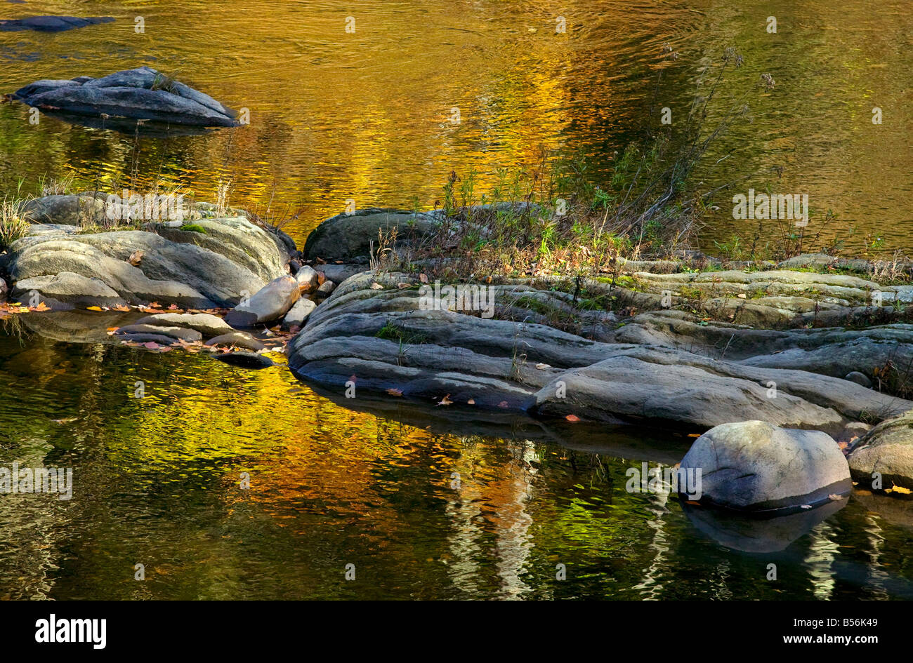 Autumn colors reflect from a rocky river in New England. - Stock Image