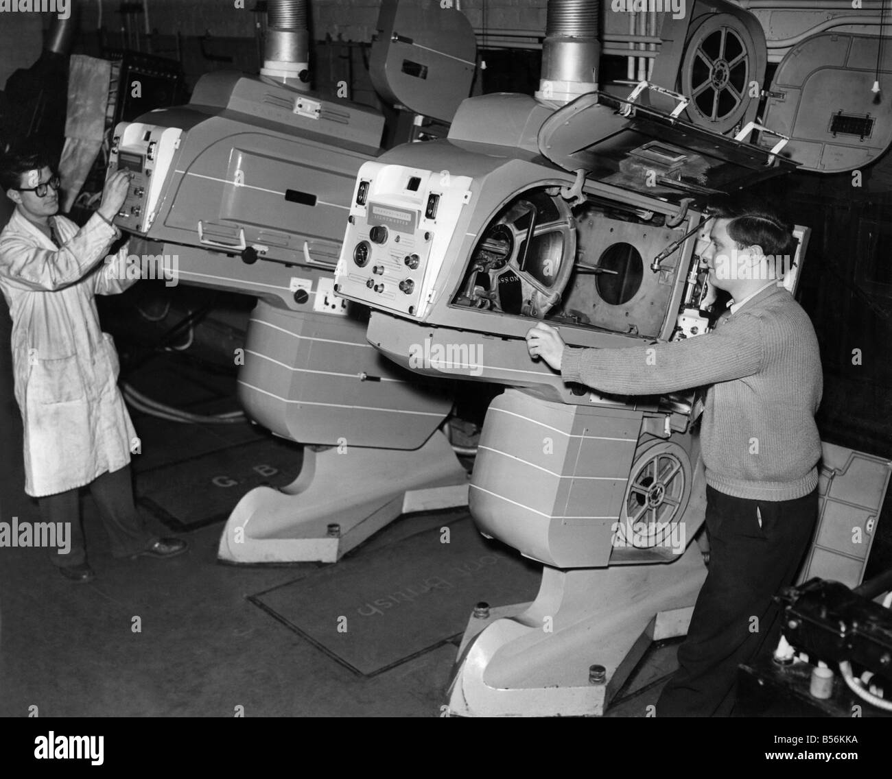 It's a far cry from the silent era's film projectors to these massive machines at the 'Gaumont,' - Stock Image