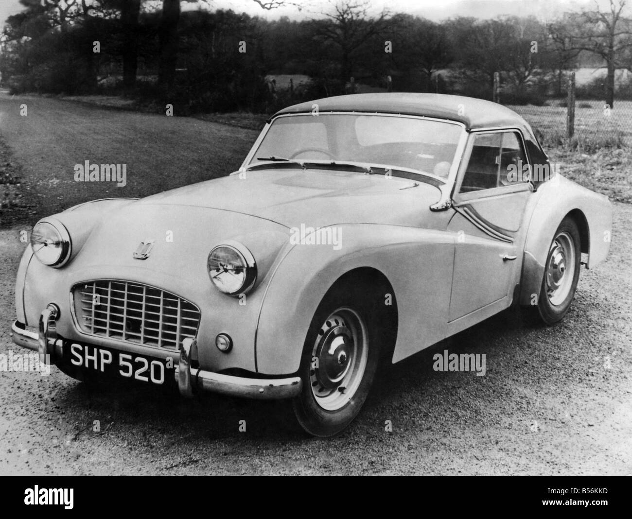 Triumph TR 3 Sports. A new feature of the current model is the fitting of the new system of disc brake to the front - Stock Image