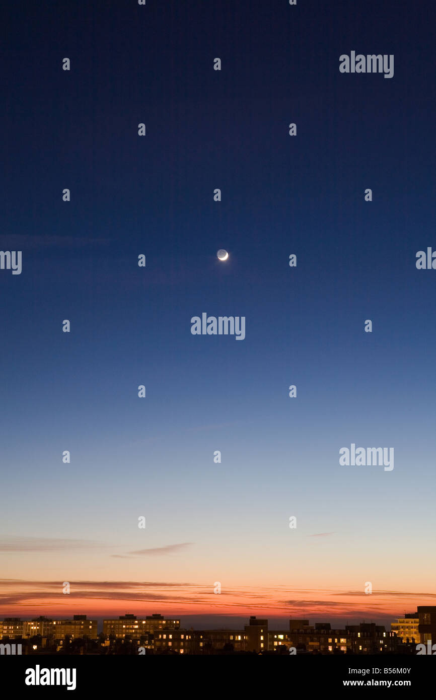 Moon in sky above hove - Stock Image