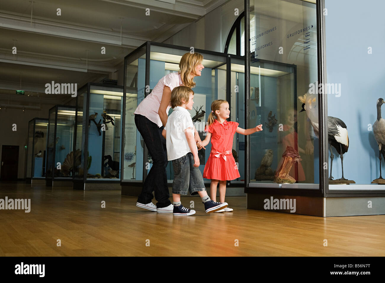 Mother and children looking at a museum exhibit - Stock Image