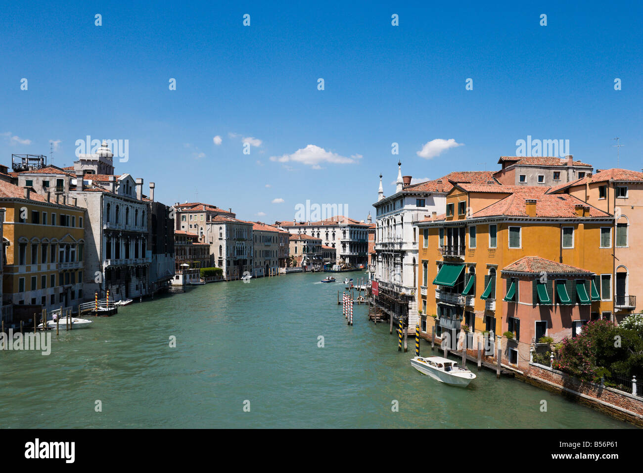 View of the Grand Canal from the Accademia Bridge, District of San Marco, Venice, Veneto, Italy - Stock Image